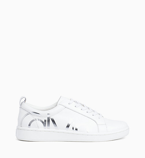 CALVIN KLEIN Leather Trainers - PLATINUM WHITE - CALVIN KLEIN TRAINERS - main image
