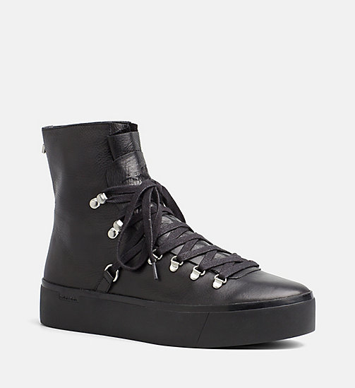 CALVINKLEIN Leather High-Top Sneakers - BLACK - CALVIN KLEIN SHOES & ACCESORIES - main image