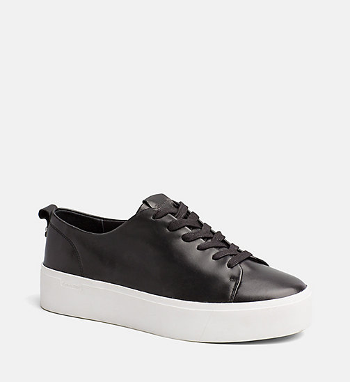 CALVINKLEIN Nappa Leather Sneakers - BLACK -  TRAINERS - main image