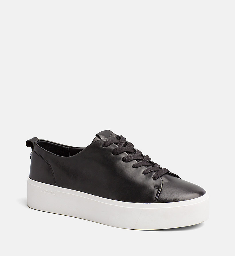 CALVINKLEIN Nappa Leather Sneakers - PLATINUM WHITE - CALVIN KLEIN WOMEN - main image