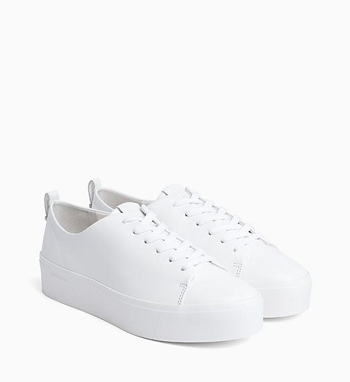 CALVIN KLEIN Nappa Leather Trainers - PLATINUM WHITE - CALVIN KLEIN TRAINERS - detail image 1