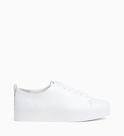 CALVINKLEIN Nappa Leather Sneakers - PLATINUM WHITE - CALVIN KLEIN TRAINERS - main image