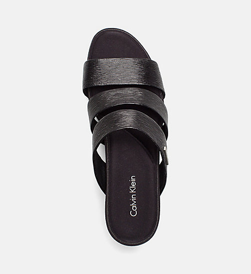 CALVINKLEIN Saffiano Wedge Sandals - BLACK -  SANDALS - detail image 1