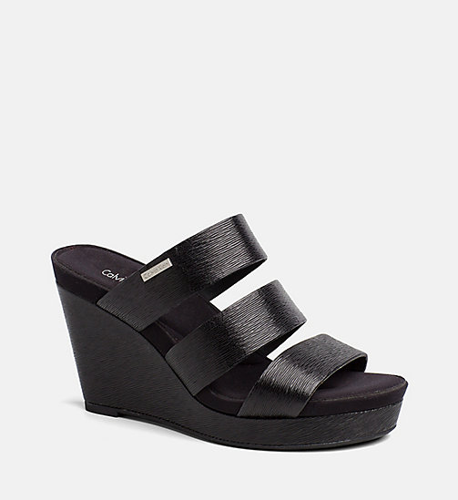 CALVINKLEIN Saffiano Wedge Sandals - BLACK - CALVIN KLEIN SANDALS - main image