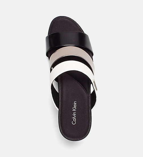 CALVINKLEIN Metallic Patent Wedge Sandals - BLACK/PEWTER/PLATINUM WHITE -  SANDALS - detail image 1