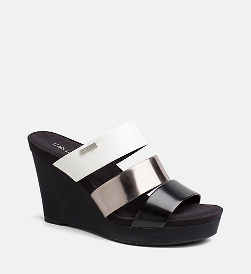 CALVINKLEIN Metallic Patent Wedge Sandals - BLACK/PEWTER/PLATINUM WHITE -  SANDALS - main image