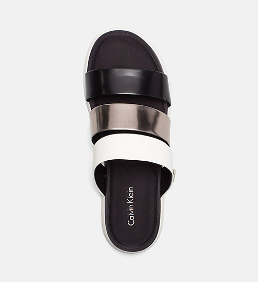 CALVINKLEIN Metallic Patent Sandals - BLACK/PEWTER/PLATINUM WHITE - CALVIN KLEIN SANDALS - detail image 1