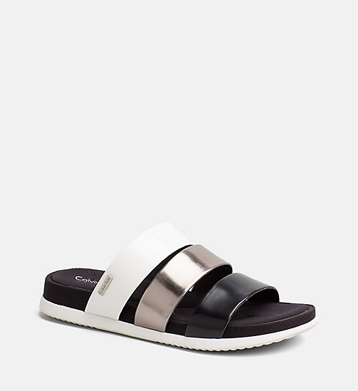 CALVINKLEIN Metallic Patent Sandals - BLACK/PEWTER/PLATINUM WHITE - CALVIN KLEIN SANDALS - main image