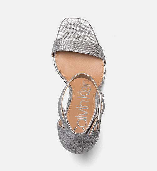 CALVINKLEIN Metallic Leather Heeled Sandals - SILVER -  SANDALS - detail image 1