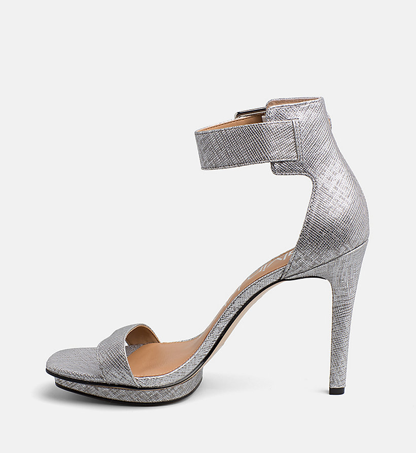 CALVINKLEIN Metallic Leather Heeled Sandals - WARM GOLD - CALVIN KLEIN WOMEN - detail image 2