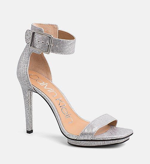 CALVINKLEIN Metallic Leather Heeled Sandals - SILVER -  SANDALS - main image