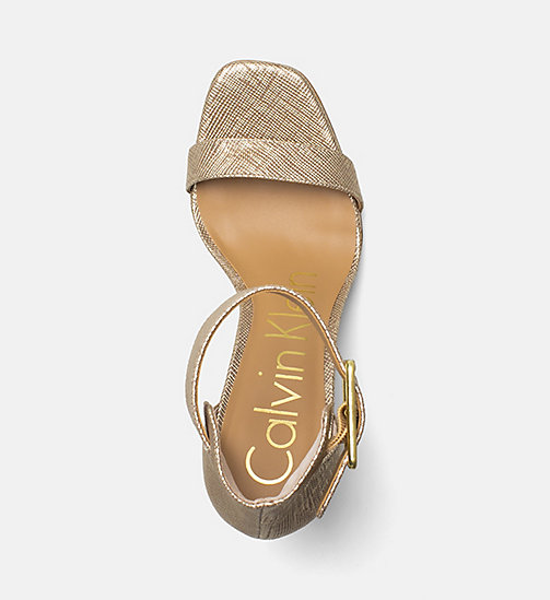 CALVINKLEIN Metallic Leather Heeled Sandals - WARM GOLD -  SANDALS - detail image 1