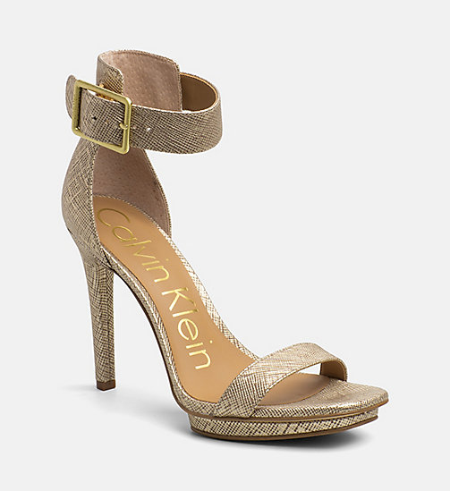 CALVINKLEIN Metallic Leather Heeled Sandals - WARM GOLD - CALVIN KLEIN SANDALS - main image