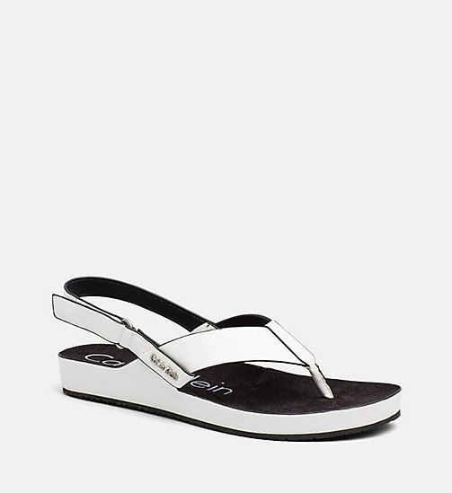 CALVINKLEIN Patent Sandals - PLATINUM WHITE -  SANDALS - main image
