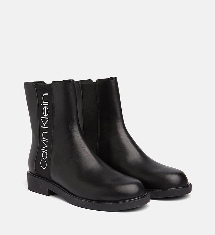 CALVINKLEIN Leather Ankle Boots - WHITE / BLACK - CALVIN KLEIN WOMEN - detail image 1
