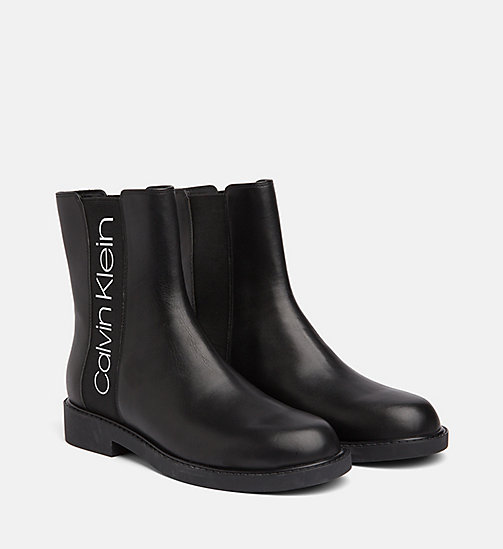 CALVIN KLEIN Leather Ankle Boots - BLACK / BLACK - CALVIN KLEIN FLAT SHOES - detail image 1