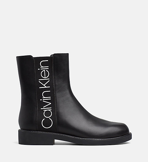 CALVIN KLEIN Leather Ankle Boots - BLACK/BLACK - CALVIN KLEIN FLAT SHOES - main image