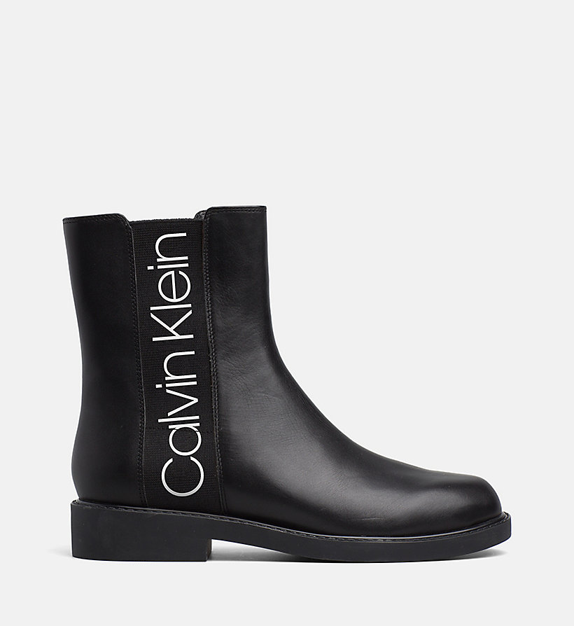 CALVINKLEIN Leather Ankle Boots - WHITE / BLACK - CALVIN KLEIN WOMEN - main image