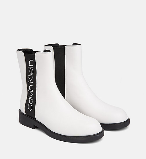 CALVIN KLEIN Leather Ankle Boots - WHITE / BLACK - CALVIN KLEIN FLAT SHOES - detail image 1