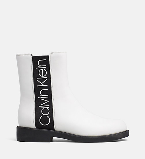 CALVIN KLEIN Leather Ankle Boots - WHITE / BLACK - CALVIN KLEIN FLAT SHOES - main image