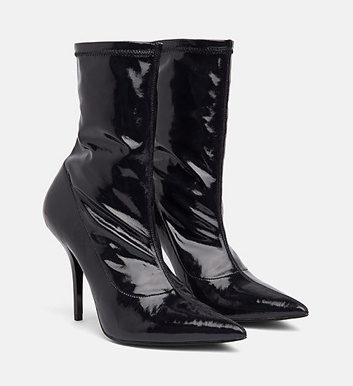 CALVIN KLEIN Naplack Leather Heeled Boots - BLACK - CALVIN KLEIN BOOTS - detail image 1