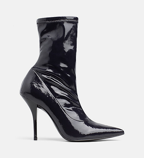 CALVINKLEIN Naplack Leather Heeled Boots - BLACK - CALVIN KLEIN BOOTS - main image