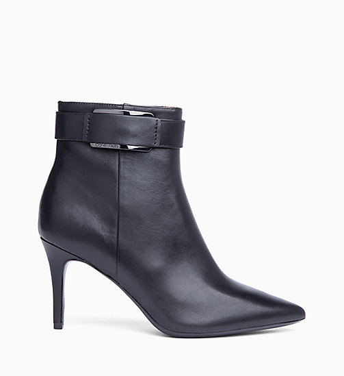 CALVIN KLEIN Leather Ankle Boots - BLACK - CALVIN KLEIN BOOTS - main image