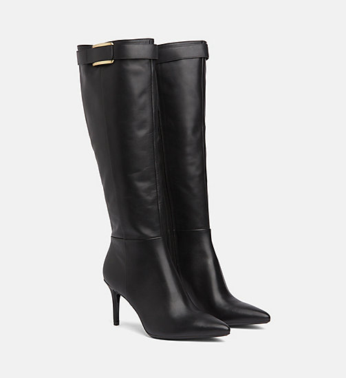 CALVIN KLEIN Leather Heeled Boots - BLACK - CALVIN KLEIN BOOTS - detail image 1