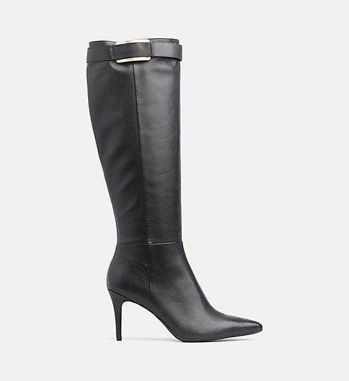 CALVIN KLEIN Leather Heeled Boots - BLACK - CALVIN KLEIN BOOTS - main image