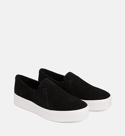 CALVINKLEIN Suede Slip-On Shoes - BLACK - CALVIN KLEIN FLAT SHOES - detail image 1