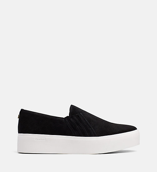 CALVINKLEIN Suede Slip-On Shoes - BLACK - CALVIN KLEIN FLAT SHOES - main image