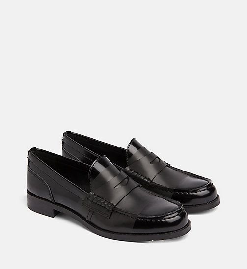 CALVIN KLEIN Leather Loafers - BLACK/BLACK - CALVIN KLEIN FLAT SHOES - detail image 1