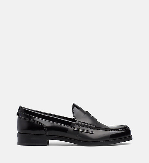CALVIN KLEIN Leather Loafers - BLACK / BLACK - CALVIN KLEIN FLAT SHOES - main image