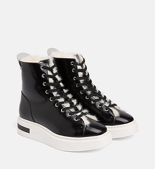 CALVIN KLEIN Leather High-Top Trainers - BLACK/PLATINUM WHITE - CALVIN KLEIN TRAINERS - detail image 1