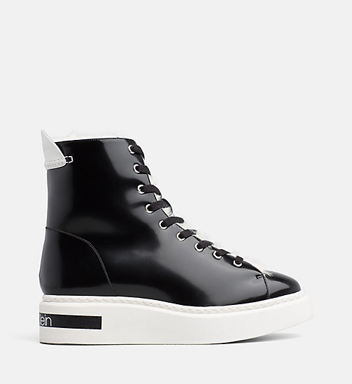 CALVIN KLEIN Leather High-Top Trainers - BLACK/PLATINUM WHITE - CALVIN KLEIN TRAINERS - main image
