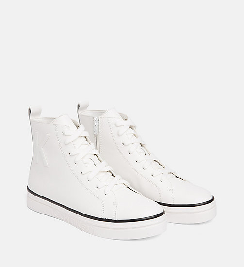 CALVIN KLEIN Leather High-Top Trainers - PLATINUM WHITE - CALVIN KLEIN FALL DREAMS - detail image 1