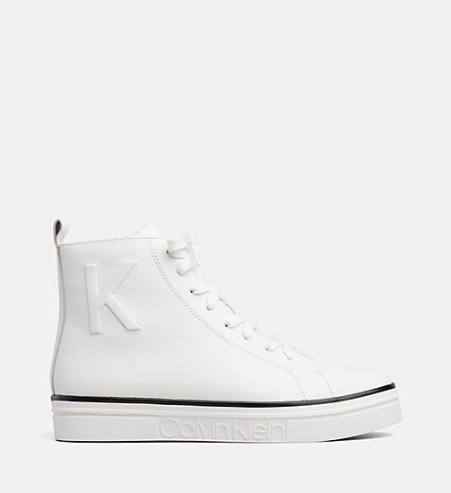 CALVIN KLEIN Leather High-Top Trainers - PLATINUM WHITE - CALVIN KLEIN FALL DREAMS - main image