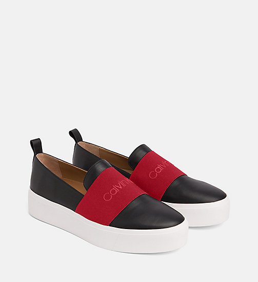 CALVIN KLEIN Leather Slip-On Shoes - BLACK / ROUGE - CALVIN KLEIN FLAT SHOES - detail image 1