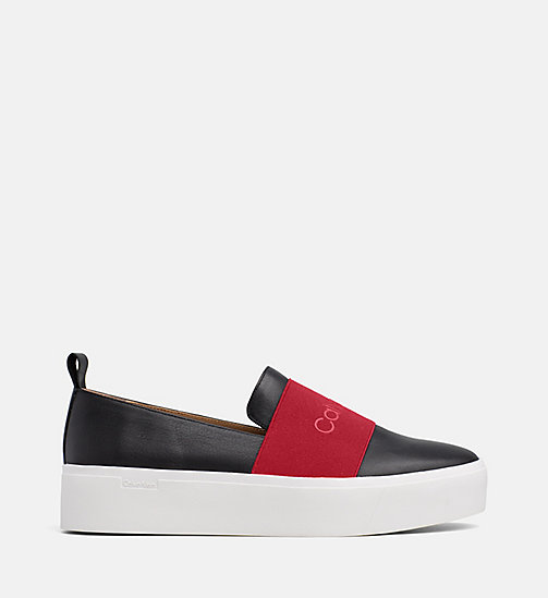 CALVIN KLEIN Leather Slip-On Shoes - BLACK / ROUGE - CALVIN KLEIN FLAT SHOES - main image