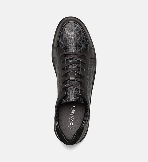 CALVINKLEIN Logo Leather Sneakers - BLACK -  TRAINERS - detail image 1