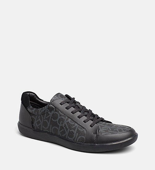 CALVINKLEIN Logo Leather Sneakers - BLACK -  TRAINERS - main image