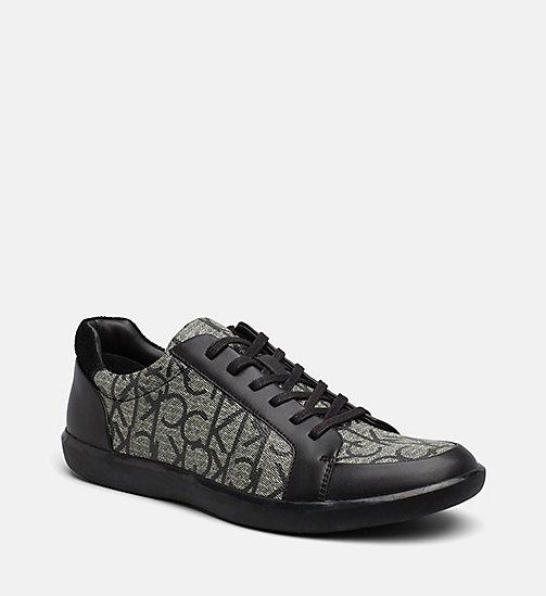 CALVINKLEIN Logo Leather Sneakers - GRANITE - CALVIN KLEIN TRAINERS - main image