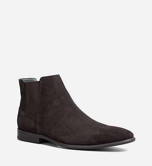CALVINKLEIN Suede Ankle Boots - DARK BROWN - CALVIN KLEIN SHOES & ACCESSORIES - main image