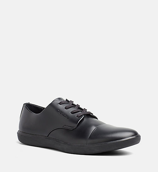 CALVINKLEIN Leather Lace-Up Shoes - BLACK - CALVIN KLEIN FLAT SHOES - main image