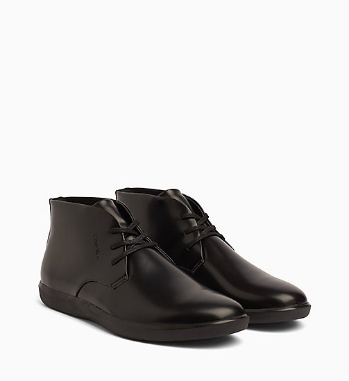 CALVINKLEIN Leather Lace-Up Ankle Boots - BLACK -  FLAT SHOES - detail image 1