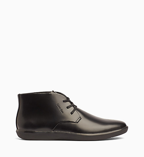 CALVINKLEIN Leather Lace-Up Ankle Boots - BLACK -  FLAT SHOES - main image