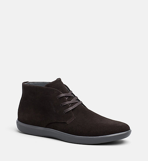 CALVINKLEIN Suede Ankle Boots - DARK BROWN - CALVIN KLEIN FLAT SHOES - main image