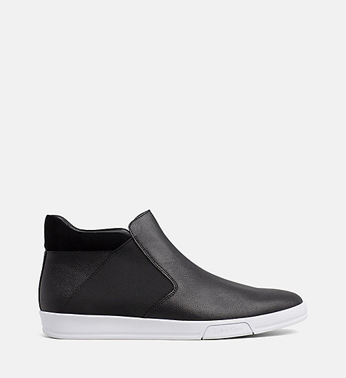 CALVIN KLEIN Leather Ankle Boots - BLACK - CALVIN KLEIN FLAT SHOES - main image