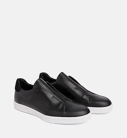 CALVIN KLEIN Leather Slip-On Shoes - BLACK - CALVIN KLEIN FLAT SHOES - detail image 1