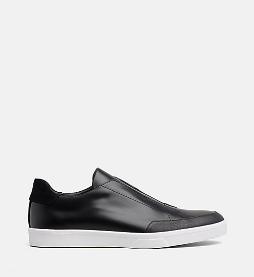 CALVIN KLEIN Leather Slip-On Shoes - BLACK - CALVIN KLEIN FLAT SHOES - main image
